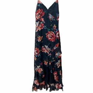 LULU'S Floral Spaghetti Strap Ruffle maxi Dress S
